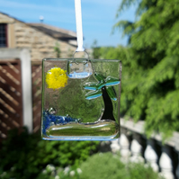 Fused Glass Suncatcher - Desert Island