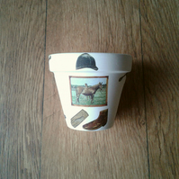 Hand Painted and Decoupaged Flower Pots, Equestrian 3, Horses, Equestrian gifts.