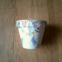 Hand Painted and Decoupaged Flower Pots Nautical Seagulls.