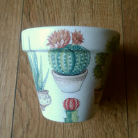 Hand Painted and Decoupaged Flower Pots, cactus 1, cacti pots, cactus design.