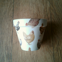 Hand Painted and Decoupaged Flower Pot,Emma Bridgewater design Hens.