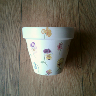 Hand Painted and Decoupaged Flower Pot, Pansy's 1, Pansy flowers, pansies.