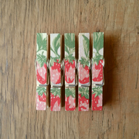 Hand made Decoupaged clothes peg fridge memo magnets set of 5, Strawberries .