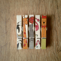 Hand made Decoupaged clothes peg fridge memo magnets( 5 ) Zoo Animals.