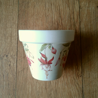 Hand Painted and Decoupaged Flower Pot,Varities of Fuchsia 1, Fuchsia flowers.