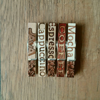 Hand made Decoupaged clothes peg fridge memo magnets set of 5,magnets,Coffee.