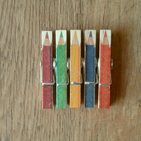 Hand made Decoupaged clothes peg fridge memo magnets ( 5 ) Coloring pencils.