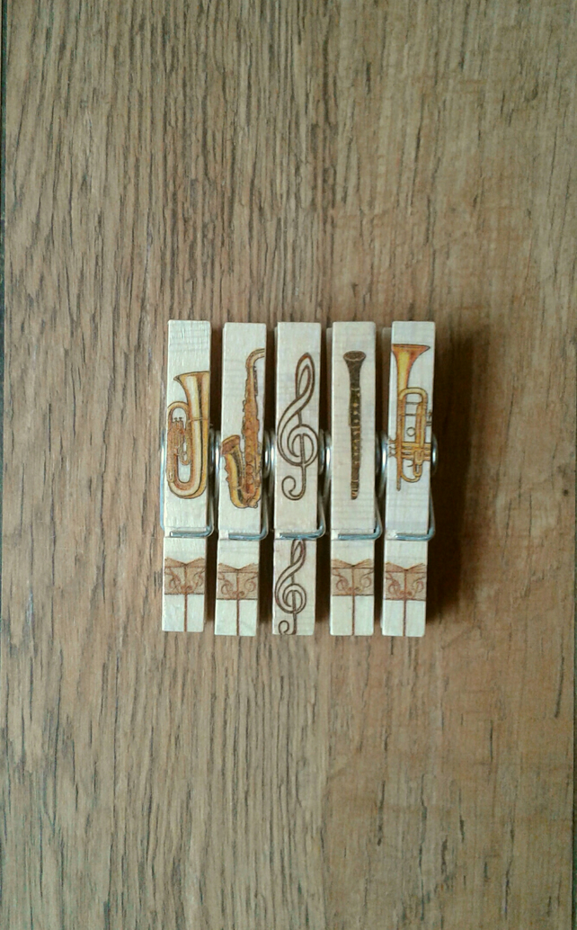 Hand made Decoupaged clothes peg fridge memo magnets( 5 ) Musical instruments 3.