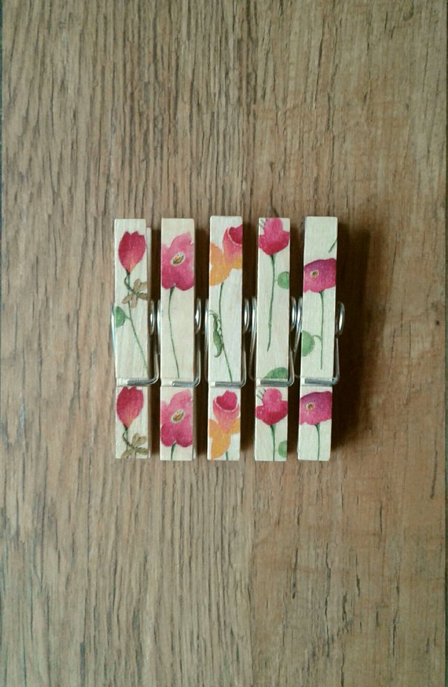 Hand made Decoupaged clothes peg fridge memo magnets set of 5, Spring Flowers 2.