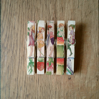 Hand made Decoupaged clothes peg fridge memo magnets set of 5,magnets,Fairys.