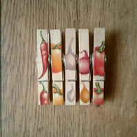 Hand made Decoupaged clothes peg fridge memo magnets set of 5,magnets,spicy veg.