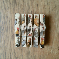 Hand made Decoupaged clothes peg fridge memo magnets (5) Hens and Toast no 2