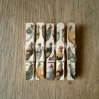 Hand made Decoupaged clothes peg fridge memo magnets (5) Hens and Toast no 1