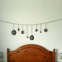 Metal Chain Bunting,Steampunk,Cogs,Banner,Man cave,Wall decor,Cog decoration no1
