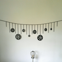 Metal Chain Bunting,Steampunk,Cogs,Banner,Man cave,Wall decor,Cog decoration no2