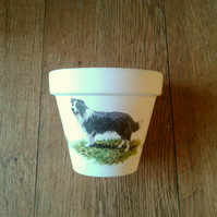 Hand Painted and Decoupaged Flower Pots,Various Dogs,Collie,Westie,Yorkie dogs.