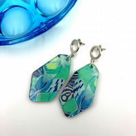 Blue butterfly print, printed acrylic, irregular earrings