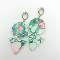 Marble print, printed acrylic, geometric earrings