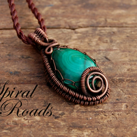 Malachite gemstone pendant - wire wrapped copper necklace pendant - adjustable