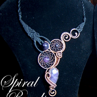 Dream catcher statement necklace - wire wrap and macrame - large bib - Amethyst