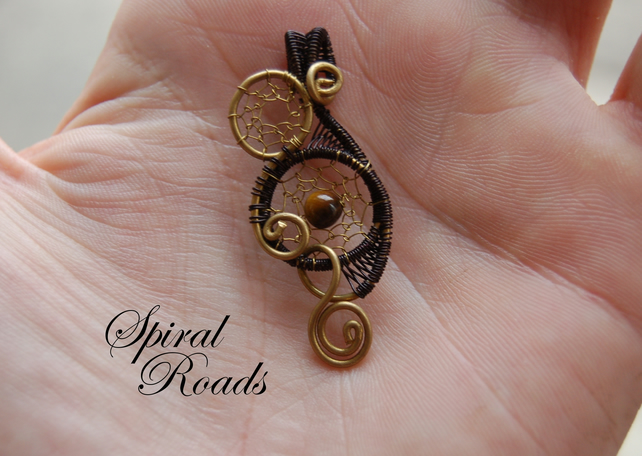 Small dream catcher necklace pendant - necklace charm - tiger eye stone