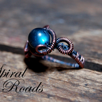 Labradorite gemstone ring - copper wire wrapped - stylish and unique ring
