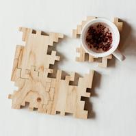 Wooden Coasters - Solid Oak - Interlocking Puzzle - Geometric - Set of 4