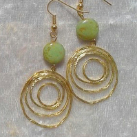 BEAD EARRINGS. 7 cms. Handmade in the UK.