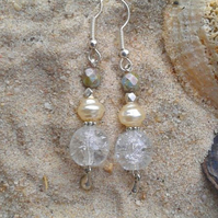DANGLING BEAD EARRINGS. 7 cms. Handmade in the UK.