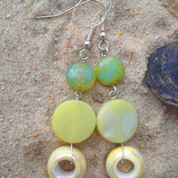 JADE BEAD EARRINGS. 8 cms. Handmade in the UK.