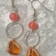 LONG BEAD EARRINGS. 7 cms. Handmade in the UK.