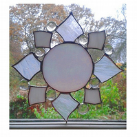 "STAINED GLASS STAR  7 x 7 "" - 17 x 17 cms. Handmade in England."