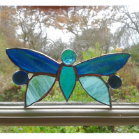 "STAINED GLASS DRAGONFLY. 6 x 3.5 "" - 15 x 9 cms. Handmade in England."