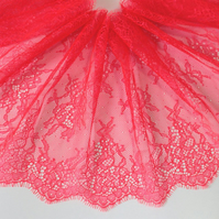 3mt x 22cm Red Bright Eyelash Lace Trim