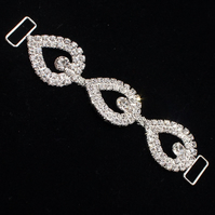 Tear Drop Rhinestone Bikini Connector Buckle