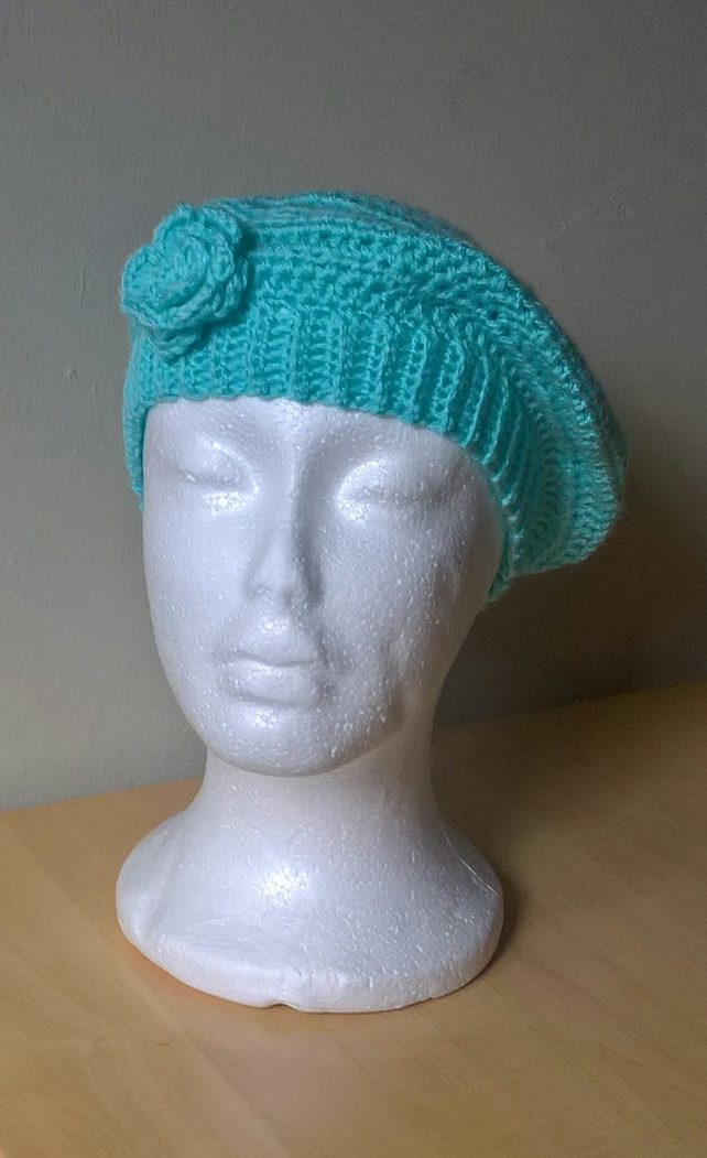 Teal ladies beret