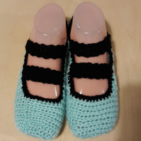 blue and black crochet slippers