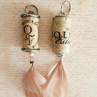 Unusual keyring made from wine cork gift idea for her