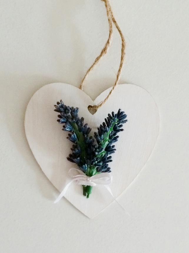 Wooden lavender hanging heart, shabby chic home decoration