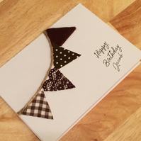 Personalised fabric bunting card him her for birthday or any celebration