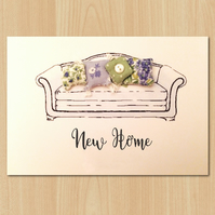 New home moving card featuring 3D fabric sofa cushions