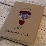 It's wine o clock humour card for birthday, anniversary, celebration