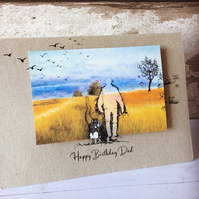 Handmade scenic man and dog card personalised for dad, grandad, brother, husband