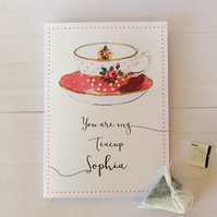 Romantic handmade teacup card with personalised message