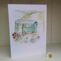 Shepherds hut greetings card