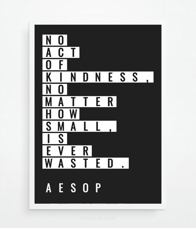 Philosophy Wall Art Gift - Aesop Quote. A4 Print Size.