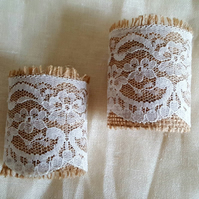 Wedding napkin holder, burlap and lace, hessian, rustic wedding table decor,