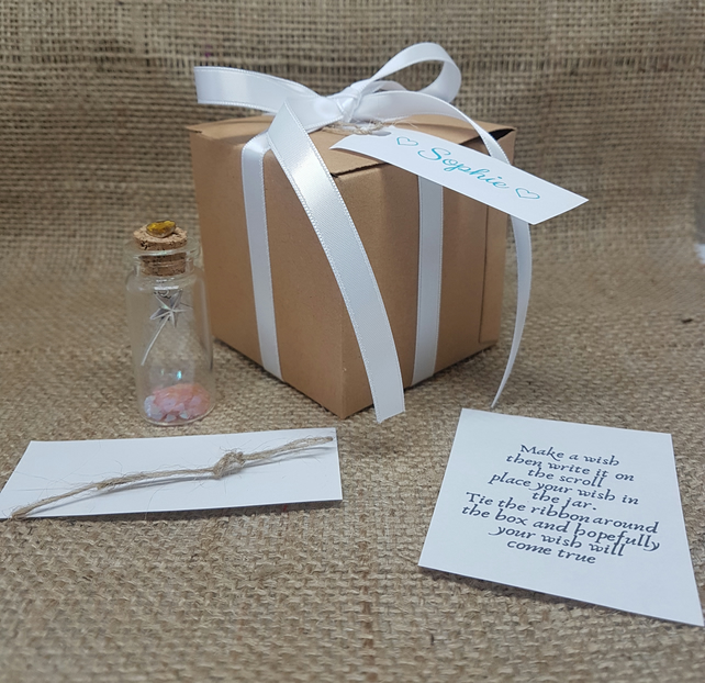 Make a wish gift, personalised gift box, mini bottle, wedding favours, birthday