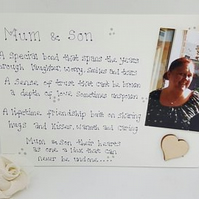 Mum and son, Mum and daughter, freestanding photo plaque, photo sign