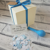 Will you be my Godfather, pop the balloon, balloon in a box, christening, new